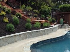 Hillside Landscaping Design Ideas, Pictures, Remodel, and Decor - page 23 Backyard Hill Landscaping, Landscaping Retaining Walls, Sloped Backyard, Landscaping Company, Landscaping Ideas, Backyard Ideas, House Landscape, Landscape Design, Garden Design