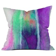 Bring a plush pop of color to your bed or sofa with this vibrant pillow, featuring a watercolor-inspired motif by artist Jacqueline Maldonado for DENY Design...