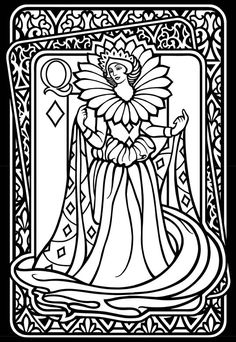Wild Cards Stained Glass Coloring Book Dover Publications- like this queen. might use her outline to tangle