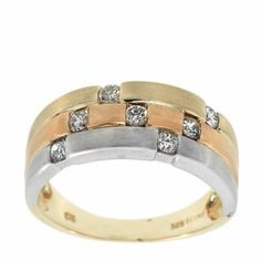0.40 Cttw Round Diamonds Fancy Cocktail Band in 14k Multi Tone Gold by GetDiamondsDirect on Etsy