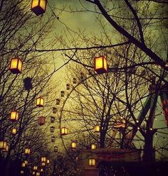 An early spring evening, chill in the air, walking along and gazing up at the lanterns and ferris wheel. ~ via Deviant Art (National Ferris Wheel Day; Arte Punch, Carrousel, Night Circus, Circus City, Nocturne, Belle Photo, Gravity Falls, Pretty Pictures, Art Photography