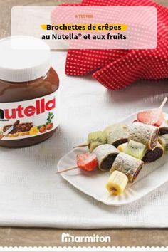 Le mariage parfait du Nutella®️️️️️️️️️️️️️️️️️️️ et des fruits sur des pics à brochettes Nutella Crepes, Kebab, Crepe Recipes, Vegetable Drinks, Kids Meals, Brunch, Food And Drink, Cooking Recipes, Snacks