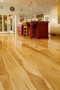 Hickory Wide Plank Hardwood Flooring (2nd re-pin... love the drama lines n shapes of Hickory!!)