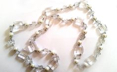 Clear And White Statement Pearl Necklace  by Urmelshop on Etsy