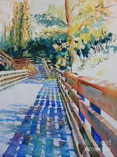 Watercolor Painting - Bridge To Tranquility Iv by Marsha Reeves