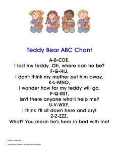 Preschool Teddy Bear Activities | Teddy Bear ABC Chant