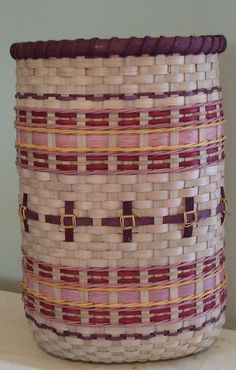 Made in a class in Branson, MO with Tika Tucker. A challenge in shaping (and maintaining the diameter) without a mold. A nice, sturdy basket, now owned by my colleague Mark in Illinois.
