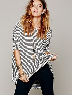 oversized striped linen tee