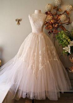 Vintage Illusion Lace 1950s Couture Wedding Dress 50s