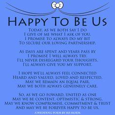 Happy To Be Us - A modern romantic wedding vows poem by English poet, Ms Moem. @msmoem