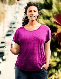 Lightweight knit top is a hot choice for the season with an envelope back, high-low hem and flirty keyhole detail. #LaneBryant