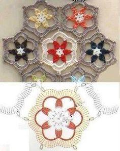 Hexagonal flower motif crochet chart - page contains a variety of suitable centers Mandala Au Crochet, Crochet Motifs, Crochet Blocks, Crochet Diagram, Crochet Squares, Thread Crochet, Crochet Crafts, Crochet Doilies, Crochet Flowers