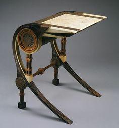 Drawing Table   Desk, ca. 1902 Carlo Bugatti (Italian, 1856–1940) Walnut, copper ...