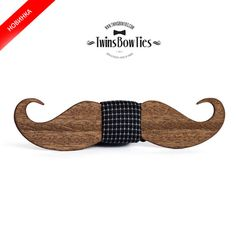 """Wooden bow tie """"MUSTACHE"""" Classic, 100% handicraft / Unique wood bow tie by TwinsBowTies"""