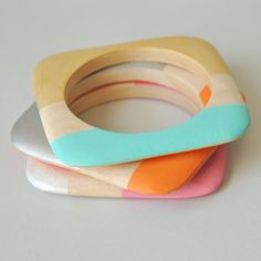 Geometric Bangle, Wood Bangles, SET of 3, Turquoise, Gold, Pink, Orange, Silver, Hand painted, Handmade Bangles, Made in USA, Square Bangles on Etsy, £23.57