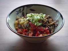 Oven-roasted vegan and gluten-free combo of eggplant, bell pepper, and mushrooms marinated with a sesame soy vinaigrette rice bowl!