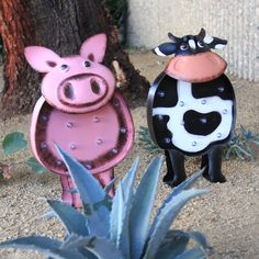 Pig & Cow - Buddies! Solar powered metal statuary that light up at night!