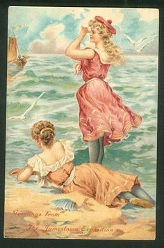 Divided Back Postcard Young Women in Bathing Costumes Swimsuits & Pinup Vintage Ephemera, Vintage Postcards, Bathing Costumes, Vintage Swim, Victorian Art, Victorian Ladies, Vintage Artwork, Vintage Illustrations, Beach Scenes