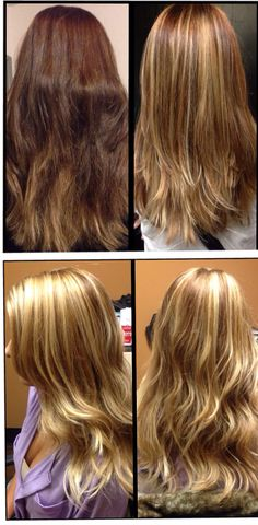 Before & After: red brown to #blonde #balayage #highlights - transitioned with two sessions