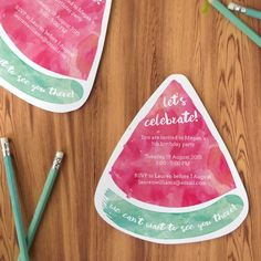 Free Printable Watermelon Party Invites - Throwing a party? Make professional party invites with this free watermelon template!