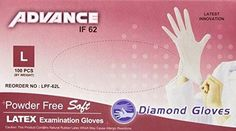 Diamond Gloves Advance Powder-Free Soft Latex Examination Gloves, 5.9 Mil, Large, 100 Count
