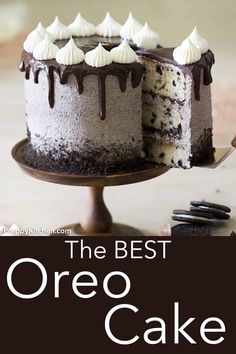 This Oreo Cake brings cookies and cake together for an amazing dessert! The crus… This Oreo Cake brings cookies and cake together for an amazing dessert! The crushed cookies in the buttercream are basically magic. Köstliche Desserts, Delicious Desserts, Dessert Recipes, Oreo Dessert, Dessert Food, Health Desserts, Plated Desserts, Cupcakes Oreo, Cupcake Cakes