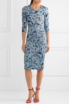 Erdem - Allegra Printed Stretch-ponte Dress - Blue - UK12