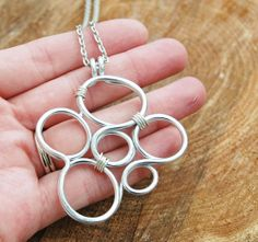 Bubbles Necklace Large Silver Aluminum by Karismabykarajewelry, $36.00