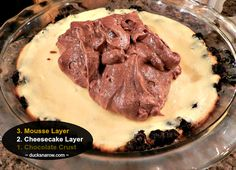 3 of 4 layers chocolate mousse cheesecake layered pie