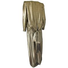 Pre-owned Vintage Valentino Gold Lame Evening Gown Dress w/Oversized... ($1,200) ❤ liked on Polyvore featuring dresses, evening dresses, 80s dress, draped sleeve dress, vintage 80s dress, vintage gold dress and preowned dresses