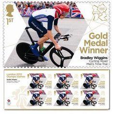 Gold Medal Winner stamp - Bradley Wiggins, Cycling, Men's Time Trial
