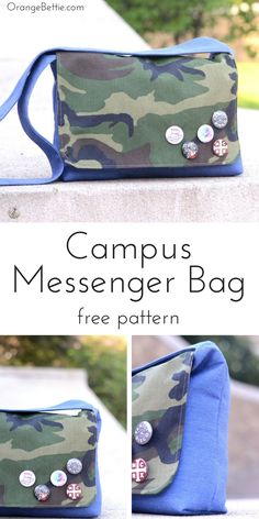 Sew a messenger bag that your teen will be proud to carry! It's easy to sew with my messenger bag tutorial and free pattern. The Campus Messenger Bag is big enough to hold a small laptop and notebooks to class or study sessions. Easy Sewing Projects, Sewing Hacks, Sewing Tutorials, Sewing Patterns Free, Free Sewing, Free Pattern, Purse Patterns, Sewing Men, Bags Sewing
