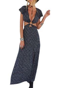 Plunge V-neck Cut Out Side Split Maxi Dress - US$15.95 -YOINS