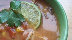 A quick, no-fuss version of chicken tortilla soup! All you do is put everything into the slow cooker, and turn it on. Then garnish with baked corn tortilla strips!