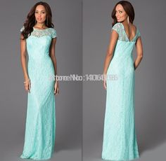 Find More Prom Dresses Information about 2015 New Design Cap Sleeves Sheath Long Mint Green Lace Prom Dresses Vestido,High Quality dress half,China dress tropical Suppliers, Cheap dress chevron from Forever Lover Bridal on Aliexpress.com