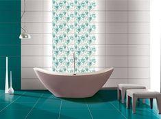 Faianta baie Vision Turquoise, lucioasa, x cm Color Tile, Modern Bathroom Design, Bathtub, Turquoise, Shower, Bathrooms, Houses, Standing Bath, Rain Shower Heads