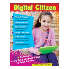 Learn how to be a good digital citizen, everything from children protecting their privacy to respecting others online. Extra Value: Reproducibles on chart back. Teaching Technology, Technology Integration, Digital Technology, Educational Technology, Digital Citizenship Posters, Citizenship Activities, Cyber Safety, Instructional Coaching, Instructional Technology
