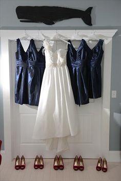 Bridal gowns and bridesmaid dresses - Navy & Pink Wedding - Beach Wedding