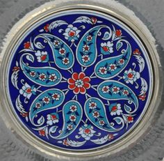"Fabulous set of 4 Turkish Iznik Chargers. The Iznik Plates are set in Hand Hammered Silverplate Frames ready to hang on a wall. Ready to hang. framed Measure approx. 11.25"" Weight 6 pds"