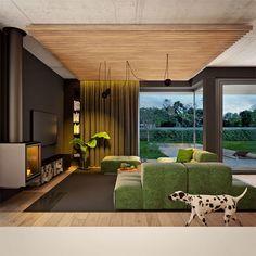 Modny III - dom parterowy z poddaszem użytkowym i garażem   doomo Barn House Plans, Architect House, Prefab Homes, Next At Home, Construction, House Design, How To Plan, Interior Design, Houses