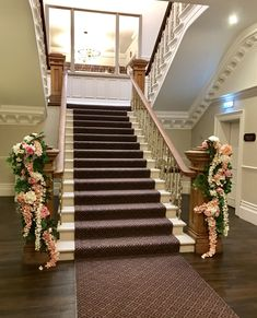 Stunning staircase at Ashfield House dressed in beautiful everlasting blossom, hydrangea, peonies and roses. Civil Ceremony, House Dress, Bridal Flowers, Hydrangea, Floral Wedding, Peonies, Floral Design, Stylists, Roses