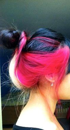 Pink black & blonde hair color.