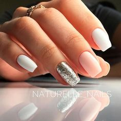 There are three kinds of fake nails which all come from the family of plastics. Acrylic nails are a liquid and powder mix. They are mixed in front of you and then they are brushed onto your nails and shaped. These nails are air dried. Gorgeous Nails, Love Nails, Pink Nails, Gel Nails, Acrylic Nails, Nail Polish, Sparkle Nails, White Shellac Nails, Pink White Nails