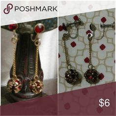 VINTAGE screw on earrings It imitates gold and rubies. Beautiful stype and the screw part allows you to pressure it to your size, so its better than clip-ons. Jewelry Earrings