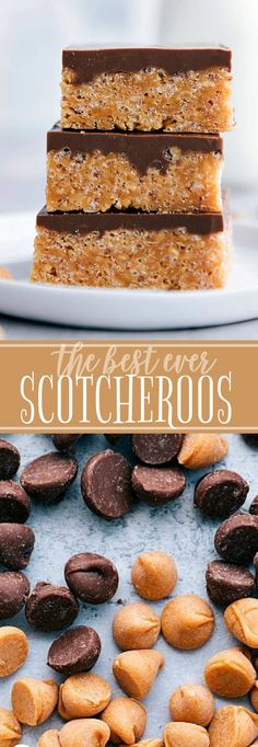 The ultimate BEST EVER SCOTCHEROOS! A super easy and quick dessert that everyone goes crazy for! via chelseasmessyapron. Easy To Make Desserts, Fun Desserts, Delicious Desserts, Yummy Food, Quick Chocolate Desserts, Budget Desserts, Quick Dessert Recipes, Potluck Recipes, Bar Recipes
