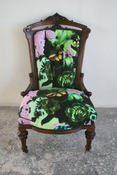 We love the look of old furniture with upholstery in bold new patterns, like this piece by Timorous Beasties.