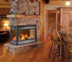 3 sided fireplace barn wood mantel - Google Search