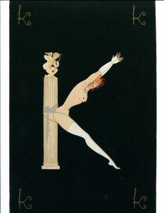 Erte Art Deco Print Book Plate Alphabet Letter K #ArtDeco