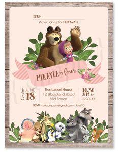Masha and The Bear Birthday Invitation Masha Bear Picnic Birthday, Bear Birthday, Twin Birthday, Boy Birthday Parties, Marsha And The Bear, Second Birthday Ideas, Bear Party, Party Packs, Birthday Invitations