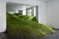 """The artist Per Kristian Nygård has filled Noplace gallery in Oslo, Norway, with a gigantic cascading green grass landscape. The site-specific sculpture is entitled """"Not Red But Green"""" Art Vert, Instalation Art, Olafur Eliasson, Cultural Architecture, Green Art, Museum Of Modern Art, Art Plastique, Land Scape, Les Oeuvres"""